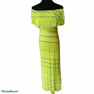 Ella Moss off shoulder boho aztec maxi yellow XS